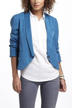 Addicted to these blazers with 3/4 sleeves!  Miette Blazer - Anthropologie.com
