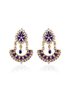 Evoking #Gold plated brass metal #Earrings with #Kundan, #Diamantes work. Item Code: JRUM542 http://www.bharatplaza.com/jewellery/earrings.html