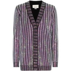 Gucci Crystal-Embellished Cardigan (238.800 RUB) ❤ liked on Polyvore featuring tops, cardigans, outerwear, sweaters, black, cardigan top, gucci, purple top, gucci top and purple cardigan