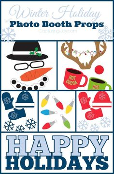 Winter Holiday Free Photo Booth Props including a snowman, mittens and Christmas lights! #SayMore #ad