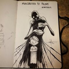 A year appointment ends of Inktober in which artists from around the world unleash their creativity. Shawn Coss drawing the mental disorders. Creepy Drawings, Dark Drawings, Creepy Art, Arte Horror, Horror Art, Mental Health Art, Cross Art, Sad Art, Art Plastique