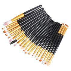 20 PCS Pro Makeup Brushes Powder Foundation Eyeshadow Eyeliner Cosmetic Brush Blending Blush Cosmetics Brushes Set Makeup Kits