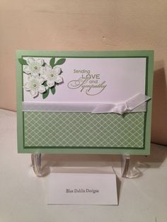 "Card Recipe:  Paper:  pistachio pudding, wild wasabi, whisper white, pistachio pudding dsp  Ink:  wild wasabi, pistachio pudding  Stamp Sets:  petite petals, love  sympathy  Accessories:  petite petals punch, bird punch, 3/8"" whisper white taffeta ribbon, basic pearls"
