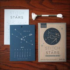 Glow in the dark Stitch the Stars 2015 calendar in store from Heather Lins!! #constellations #glowinthedark #2015 #calendar #diy