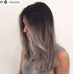 Grey Ombre - Blunt Medium Straight Haircut