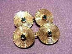 Paire de boutons de manchettes or 18cts sertis de saphirs  ca. 1950