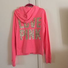 Pink with gold sequins VS PINk Hoodie Beautiful hoodie in great condition. PINK Victoria's Secret Jackets & Coats