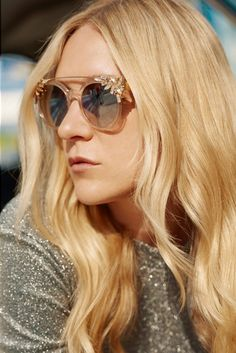Chloe Sevigny wears Jimmy Choo Vivy Embellished Sunglasses