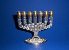 MENORAH CANDLE HOLDER Silver Tone Brass Embossed Shalom 8 Jerusalem 7  Branched Holders Vintage Hanukkah Chanukah Jewish Temple Lighting