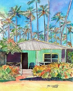 Hawaiian Cottage by Marionette from Kauai, Hawaii   http://marionette-taboniar.artistwebsites.com/featured/hawaiian-cottage-i-marionette-taboniar.html
