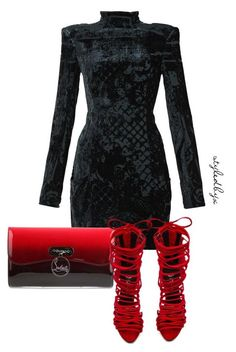 """Untitled #28"" by holly-drage on Polyvore featuring Balmain, Christian Louboutin and Jeffrey Campbell"