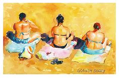 """Beach girls by Graham Berry Watercolor ~ 8"""" x 12"""""""