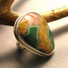 Ocean Jasper Ring Sterling Silver  One Of A Kind   by Mocahete, $112.00
