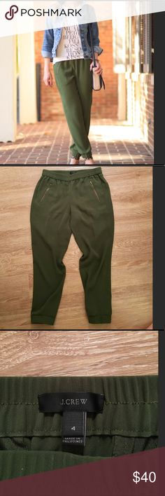 🔥💥JCrew black label olive green silk joggers 4 🔥💥JCrew black label olive green silk joggers 4... modern tak on the athleisure fashion trend.  Love these with 👠 heels and a sparkler top.  Perfect condition , only Worn a few times. J. Crew Pants