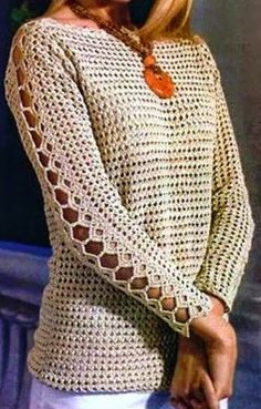 SO CHARMING!!! CROCHET BLOUSE WITH DETAILS IN SLEEVE WITH GRAPHIC. KISSES. SHARE - Crochet Designs Free