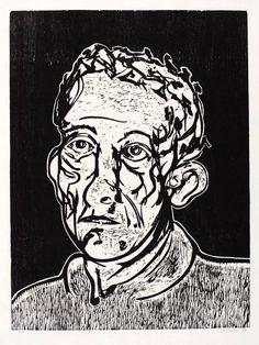 ✦ 'portrait man' - tony bevan - woodcut - 1994