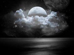 Moon Cloud Night Black & White