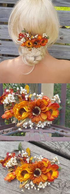 Fall Wedding Comb, Autumn Bridal Hair Comb, Thanksgiving Comb, Fall Bridal Comb, Outdoor Wedding, Rustic Fall Decor, Orange Yellow Flowers