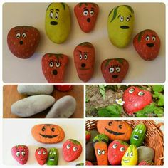 Hand painted pebble fruit and veg