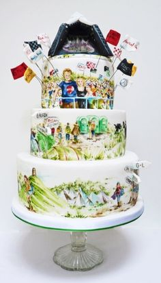 A Glastonbury themed cake for a lovely couple in the music business. Glastonbury is a big music festival in the UK famed for mud and queues for the toilets! Themed Wedding Cakes, Themed Cakes, Beautiful Cakes, Amazing Cakes, Sour Cream Chocolate Cake, Cake Works, Cake Decorating With Fondant, Christmas Cake Pops, Painted Cakes