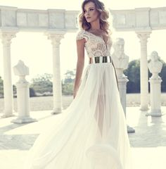 Julie Vino- Engagement dress/reception - love the cap sleeves as Wedding dress idea