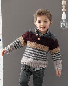 Âge 6-12 ans Garçons Patchwork Pull Knitting Pattern