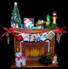 1 inch scale Xmas Fireplace for Dollhouse or as by MinisWithMusic, $32.00
