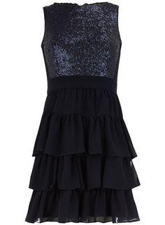 Ink tiered sequin dress