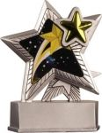 """Silver Star Motion trophy series made of durable resin material with silver resin base.  Special printing process provides for stunning """"motion graphics"""".  Rubber Feet on bottom of trophy to protect display surfaces.  Each resin trophy comes individually boxed with personalized engraving plate that is 7/8"""" x 2 11/16"""""""