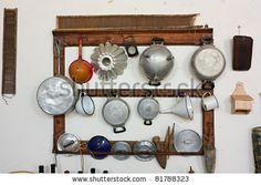 stock photo : set of old kitchen tools - retro equipment of grandmother cooking - pans and utensils of old times