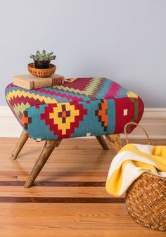 ~ Native American, Tribal Art Ottoman, I so need this!