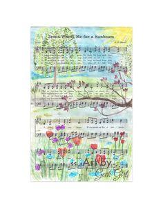 Jesus Wants Me For a Sunshine Watercolor Print Primary Song- Nursery Art - Money's Garden -Hymn Art- LDS Art- Mother in Law Gift- Housewarming Gift- Wedding Gift- Birthday Gift- Art by Geek Girl- Artbygeekgirl- Geekgirlph Sheet Music Crafts, Sheet Music Art, Hymn Art, Primary Songs, Lds Art, Crafts For Seniors, Easy Art Projects, Mother In Law Gifts, Church Crafts