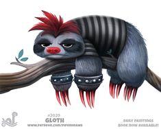 Daily Paint Gloth by Cryptid-Creations on DeviantArt Cute Animal Drawings Kawaii, Kawaii Drawings, Cartoon Drawings, Cute Drawings, Animal Puns, Funny Animals, Cute Animals, Cute Creatures, Mythical Creatures