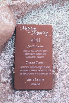 dinner menu printed on chocolate candy bar as gift for guests at bissinger's caramel room wedding reception in st louis, MO | st louis wedding photographer ash forrest ashforrest.com/weddings