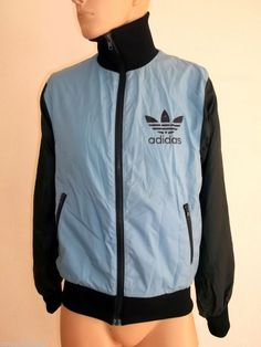 55e9a9cd88d8 ADIDAS Vintage TrackSuit top Mens Jacket UK M High Collar Rare 80 s