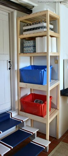 A DIY tutorial to build a recycling and storage tower with free plans.