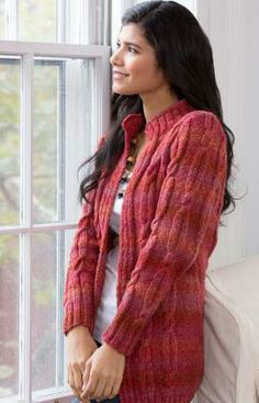 Cabled Coatigan Free Knitting Pattern from Red Heart Yarns