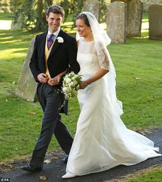 Wedding of Harry Meade and Rosie Bradford in Northleach, Gloucestershire on October 24th, 2010. They are close friends of Kate Middleton. I love her simple and elegant wedding dress! (View #3)