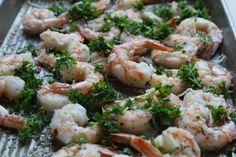 Roasted Shrimp with Garilc oil, lemon, Parmesan and Parsley low fodmap!