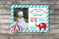 This adorable circus themed invitation is perfect for any childs birthday party! Boy or girl. Colors are modifiable. Start your party in style with