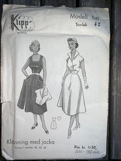 Vintage Symönster Klänning med jacka Klipp .. (412756249) ᐈ Köp på Tradera Swedish Sewing, Vintage Sewing Patterns, Jackets, Down Jackets, Jacket