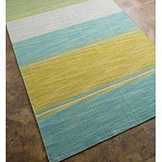 Flat Weave Green/ Yellow Wool Rug (9' x 12') | Overstock.com