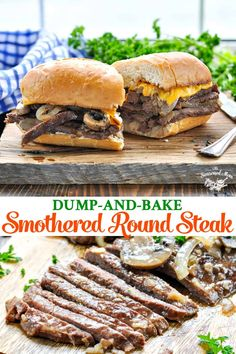 Transform an affordable cut of meat into tender, juicy beef that's topped with mushrooms and onions. This Dump-and-Bake Smothered Round Steak is an easy dinner recipe with just 10 minutes of prep! dinner for 4 Dump-and-Bake Smothered Round Steak Round Steak Recipe Oven, Beef Top Round Steak, Round Steak In Oven, Recipes With Round Steak, Steak Sandwich Recipes, Beef Steak Recipes, Crockpot Steak Recipes, Air Fryer Recipes, Tenderized Round Steak