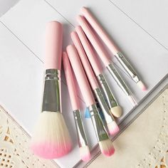 7 PCS Professional  Wood Pink Makeup Brush Brushes Kit Cosmetic Make Up Set Kit a2