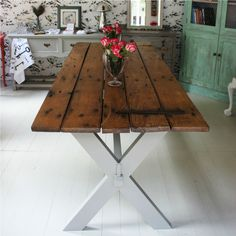 How cool is this? Reclaimed door table : handmade upcycled furniture : Ruby Rhino