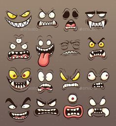 Cartoon monster faces. Vector clip art illustration with simple gradients. Each on a separate layer. EPS10 and PSD files included.