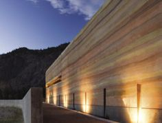 Nk'Mip Desert Culture Centre - built using the rammed earth construction method.  The up-lights really highlight the layers of soil