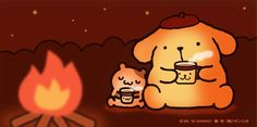 Pompompurin by the campfire