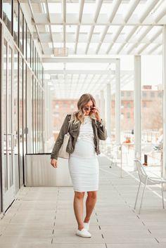 White maternity skirt