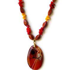 Short Chunky Sardonyx Pendant Choker Necklace/ by ALFAdesigns, $69.99